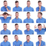 Photo set of casual young man expressions. Set of sixteen pictures of a young casual man showing various expressions. isolated on a white background Stock Photos