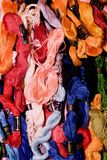 Photo of set embroidery threads floss. Selective focus. Image can be used as background. Colorful cotton yarns. Royalty Free Stock Photo