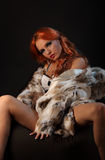 Photo of sexual beautiful girl is in fashion style, lingerie, fur coat Stock Images