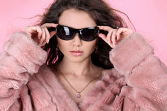 Photo of sexual beautiful girl is in fur clothes Stock Images