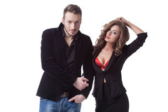 Photo of sexy couple posing in casual clothes Royalty Free Stock Photo