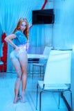 Photo of cute caucasian woman withflour on slim body stock image