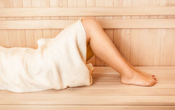Photo of sexy slim women legs at sauna Royalty Free Stock Photos