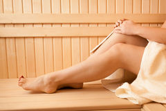 Photo of sexy women feet at sauna Royalty Free Stock Image