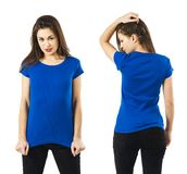 Sexy lady posing with blank blue shirt. Photo of a sexy young woman wearing a blank blue shirt, front and back Royalty Free Stock Photo