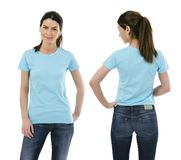 lady posing with blank light blue shirt royalty free stock image