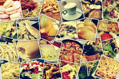 Photo-sharing. Mosaic with pictures of different meals and dishes, shooted by myself, simulating a wall of snapshots uploaded to social networking services Stock Photo