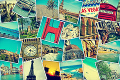 Photo-sharing. Mosaic with pictures of different places and landmarks, shooted by myself, simulating a wall of snapshots uploaded to social networking services Stock Images