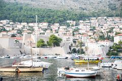 A photo of ships and boats in Dubrovnik royalty free stock photography