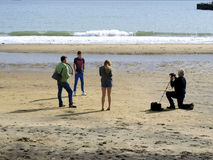 Photo shoot, October, Sandown, IOW. The crew of a Photographic shoot on the beach at Sandown in October, Isle fo Wight, England, UK Stock Images