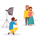 Photo shoot of young couple. Pregnant woman. Isolated art on white background. Vector. Cartoon. Flat Stock Photography