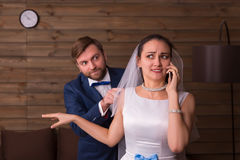 Photo shoot of young wife and husband Royalty Free Stock Photos