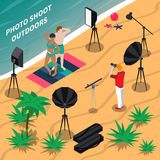 Photo Shooting Outdoors Isometric Composition. With models posing in swimsuits on beach, photographer with camera vector illustration royalty free illustration