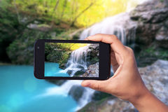 Photo shooting on smartphone Royalty Free Stock Photos