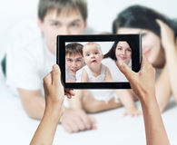 Photo shooting on tablet pc Stock Photo