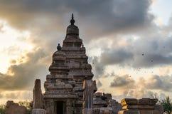 Mahabalipuram Monuments. Photo shot on sunrise time where the historical buildings of Mamallapuram monuments are highlighted stock images