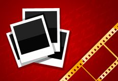 Photo shots and gold film on red background. Illustration Royalty Free Stock Image