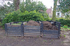 Compost recycling boxes. Photo showing compost recycling boxes in a local park in Whitstable Stock Image