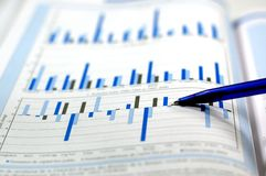 Photo showing financial and stock chart stock photo