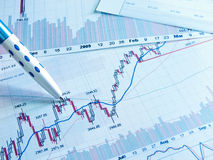 Photo showing stock chart. Showing business and financial report Stock Images