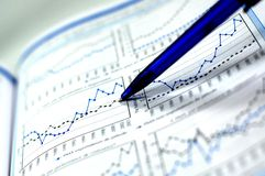 Photo showing stock chart. Showing business and financial report concept of financial report
