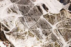 Carrara marble quarries on the mountains of the Apuan Alps. Roads of access to places of extraction royalty free stock images