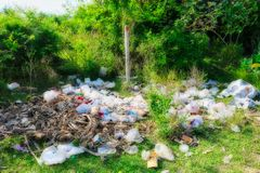 Plastic waste in nature of Thailand stock photo
