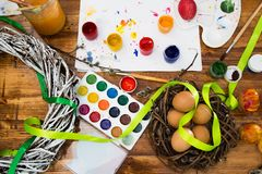 Easter eggs painted with bright paint royalty free stock photography