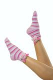 Funny home socks. The photo shows funny  socks with piglets Royalty Free Stock Photo