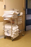 Laundry Trolley. This photo shows a hospital laundry trolley in corridor Royalty Free Stock Images