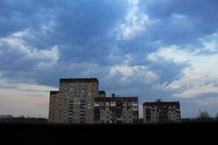 Big beautiful sky over three nine-storey houses royalty free stock photography