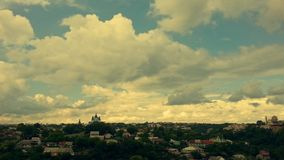Big clouds over the city stock image