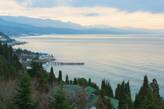 Morning Black Sea. The photo shows the morning in Alushta Royalty Free Stock Image