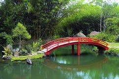 Red bridge, japanese lake stock photography