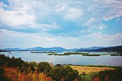 Lake with clouds royalty free stock images