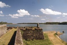 1977. Sri Lanka. Batticaloa Fort and Kallady bridge in the bagground. Stock Photos