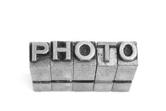 PHOTO sign, antique metal letter type Stock Image