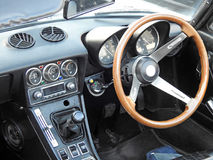 Vintage alfa romeo convertible cockpit. Photo of a silver vintage alfa romeo convertible showing at whitstable car event august 2017 Royalty Free Stock Image