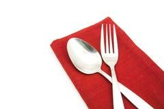 Photo silverware fork napkin  isolated. Photo silverware fork napkin isolated on white Royalty Free Stock Photo