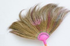 Used Broom. Photo of a simple household corn broom Royalty Free Stock Photo