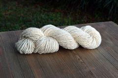 Skein of Natural Hand Spun Yarn Made from Sheep Wool Royalty Free Stock Photo