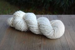 Skein of Natural Hand Spun Yarn Made from Sheep Wool Stock Photo