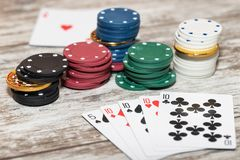 Photo sketch on the theme of the game of poker with high stakes royalty free stock image