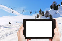 Photo of ski lift and slope of Dolomites mountains Royalty Free Stock Images