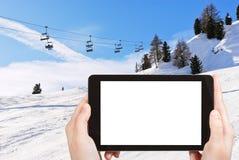 Photo of ski lift and slope of Dolomites mountains Royalty Free Stock Images