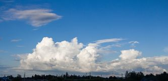 Photo of the sky with white clouds in the summer day Royalty Free Stock Image