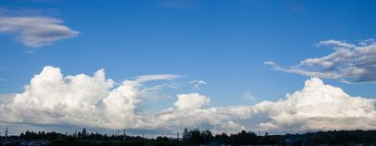 Photo of the sky with white clouds in the sunny day Royalty Free Stock Image