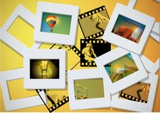 Photo and slade frames background. With images Stock Photography