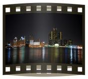 Photo slide of Detroit skyline royalty free stock photo