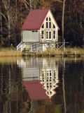 Pretty Boathouse on the Chesapeake Bay stock images
